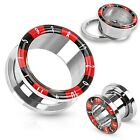New Surgical Steel Novelty Roulette Casino Number Ear Tunnel Plug Black Red