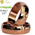 6 MM DOMED BAND SOLID COPPER POLISHED  3X MAGNETIC RING SIZE 6-16 PAIN CBR01