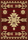 Red Southwestern Lodge Carpet Medallion Arrows Diamonds Stars Squares Area Rug