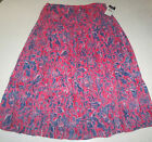 NEW Womens CHAPS Tiered Crinkle Skirt Large or XL Lined Cotton Red Blue msrp $69