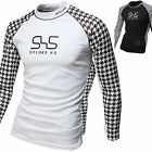 Mens Beach Water Sports Rash Guard Wetsuits Long Sleeve Summer Swimwear Top W528