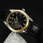 New Moon Phase Men's Brown/ Black Leather Strap Automatic Mechanical Wrist Watch