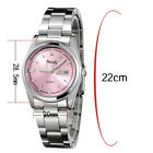 PREMA Stainless Steel Womens Casual Pink Blue White Face Quartz Wrist Watch