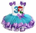 Blue Lavender Satin Trimmed Tutu Number 3 Mermaid Princess Birthday Dress Outfit