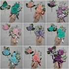 2PCS Corsage Boutonniere Set Lily of the Valley Many Color of Roses to Pick From