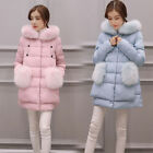 Winter Women Ladies Down Cotton Parka Long Fur Collar Hooded Coat Jacket outwear
