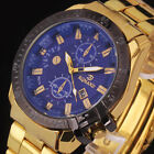 Stylish Men Black Dial Gold Stainless Steel Date Quartz Analog Sport Wrist Watch image