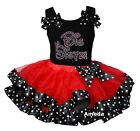 Red Black Polka Dots Satin Trimmed Tutu Big Sister Black Minnie Dress Outfit