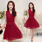 Women's fashion summer new Korean fashion collar V thin long dress