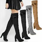 Womens Ladies Thigh High Block Heel Over The Knee Boots Strappy Party Shoes Size