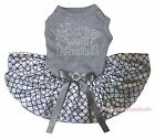 Born To Wear Diamonds Gray Top Bling Silver Fish Scale Cat Pet Dog Puppy Dress