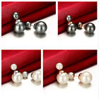 1 Pair Women Gold Plated Double Side Pearl Ball Ear Studs Earrings Beads Jewelry