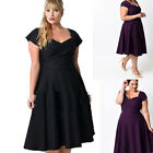 Womens Short Sleeve Retro Vintage  Plus Size Party Dress Housewife 50S Midi Club