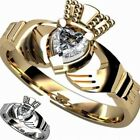 Size 5-10 Claddagh Heart Celtic Irish Ring Stainless Steel Wedding Propose Party