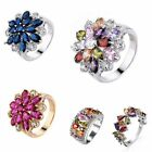 Colorful Topaz Silver/Gold Filled Finger Ring Size 6/7/8/9/10 Women Fashion