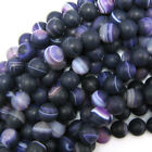 """Purple Frost Stripe Agate Round Beads 15.5"""" Strand 4mm 6mm 8mm 10mm 12mm"""
