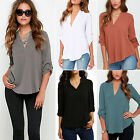Fashion Women Summer Blouse Casual V-Neck Long Sleeve Chiffon T Shirt Loose Tops