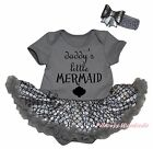 Dadddy's Little Mermaid Gray Bodysuit Bling Silver Fish Scale Baby Dress NB-18M