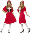Smiffys Womens Red Riding Hood Long Length Dress Cape Fancy Dress Costume Outfit
