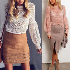 New fashion Women Girl Casual Long  Hollow Lace Puff-Sleeved Style T-Shirt Top