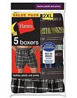 5 Pack Hanes Red Label Exposed Waistband Fashion Plaid Boxers Sizes S-2XL-LotA1