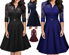 womens elegant 3/4 sleeves lace office ladies A-Line Skater Cocktail party dress