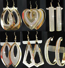 Mix New 6-12Pairs Gold GP Frosted Fashion Women Long Drop Earrings Hoop Earring