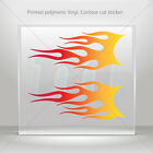 Sticker Decal Pair Of Flames Red Orange Yellow Vehicle st5 ZE29W