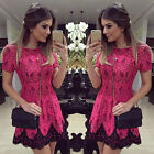 Sexy Womens Floral Lace Short Sleeve Cocktail Evening Party Casual Mini Dress