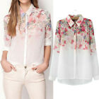 New Beauty Women Lady Chiffon Lapel Collar Long Sleeve Floral Blouse Shirt Tops