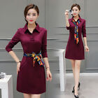 2016 Autumn women's large size long-sleeved solid color Slim dress (send scarf)