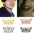 Unique Custom Gold Plated Hip Hop Hollow Open Face Teeth Grillz Caps Grill Set