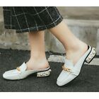 Metal Chain Oxford Pearl Loafer Chic Square Toe Pump Rivet Slipper Women's Shoes