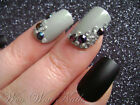20 Hand Painted False Nails Full Cover Press on Nails Black Matte Rhinestones