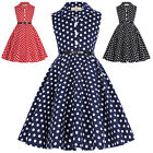 GIRLS Vintage 1940's Swing Polka Dots Dress Evening Party Retro Cocktail Skater
