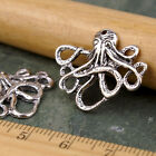 10pcs Silver Plated Octopus Earring Charm Pendant Connector Jewelry Finding a254