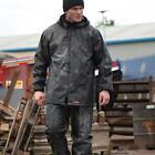 Scruffs Fully Waterproof Rain Suit - Work Workwear Rainsuit - Black