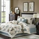 7pc Blue and Brown Birds on Tree Branch Comforter Set with Decorative Pillows