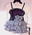 SALE  NEW Boutique GIRLS Isobella & Chloe DRESS Size 18M 2T BLACK White Gray $59