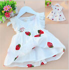 Baby Kids Girl Vest Flower Printed Skirt Sleeveless Embroidery Mini Dress 0-3Y B