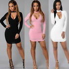Women's Long Sleeve Bodycon Evening Party Cocktail Short Mini Dress Fashion