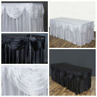 """17 feet x 29"""" Satin Classic Drape Table Skirt Wedding Party Catering SALE"""