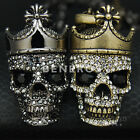 Crowned Skull King Pendant Necklace Crystal Mens Unisex Biker Jewelry