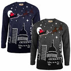 Christmas Jumper Santa Sleigh Over London Big Ben St Paul's Night Sky Sweater