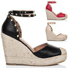 Womens Platform Stud Wedge Heel Barely There Espadrille Sandals Shoes Sz 3-8