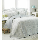 French Vintage Toile Blue Bedspread - Luxury 100% Cotton Soft Quilted Bed Throw