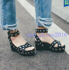 Women Punk Gothic Summer Sandals Button Rivet Decor Platform Wedge Heel SHoes