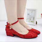Fashion Women's Red Lace Wedding shoes Bridal flats low high heel pump