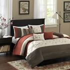 Luxury 6pc Rust Orange Embroidered Duvet Cover Bedding Se...