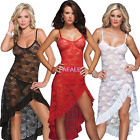 Plus Size M-4XL Sexy Lace Long Gown Nighty Lingerie Sleepwear Robes G-string